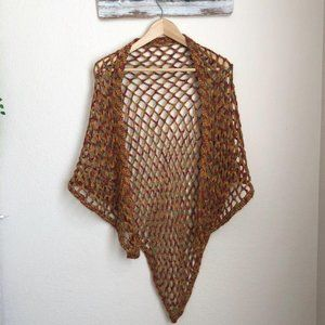 Knitted Poncho Scarf in Burnt Orange